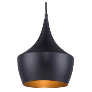 Éclairage interieur -KAYA - 1x E27 - acier / verre - max 60W - dia 250mm x 1200mm - noir mat / or