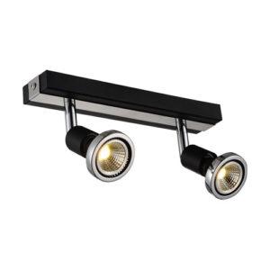 Éclairage interieur -ROBUS - 2x GU10 5W - acier - 2700K - 51mm x 250mm x 77mm - noir mat / chromé