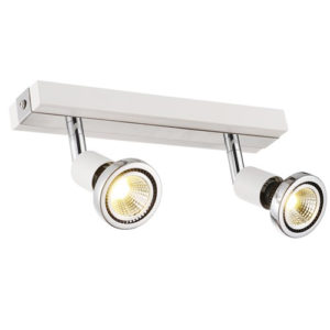 Éclairage interieur -ROBUS - 2x GU10 5W - acier - 2700K - 51mm x 250mm x 77mm - blanc mat / chromé