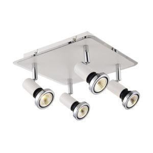 Éclairage interieur -XZIBIT - 4x GU10 5W - acier - 2700K- 250mm x 250mm x 105mm - blanc mat / chromé