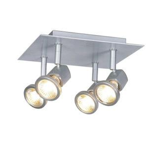Éclairage interieur -BOXIS - 4x GU10 5W - alu -2700K - 220mm x 220mm x 135mm - alu brossé