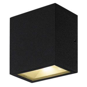 Éclairage interieur -MILOS mural - 2x 4,5W - acier/ plexi - 3000K - 90mm x 102mm x 55mm - IP65- noir