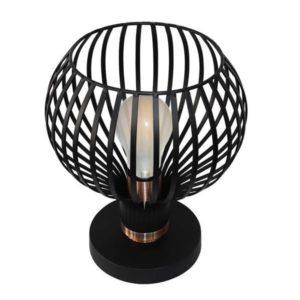 Éclairage interieur -RAGA lampe de table - 1x E27 - max 60W - metaal - Ø235mm x 285mm - noir / cuivre